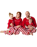 Holiday Family Matching Sleepwear Red Stripe Christmas Pyjamas Set Kids Mums Dads Xmas Gift