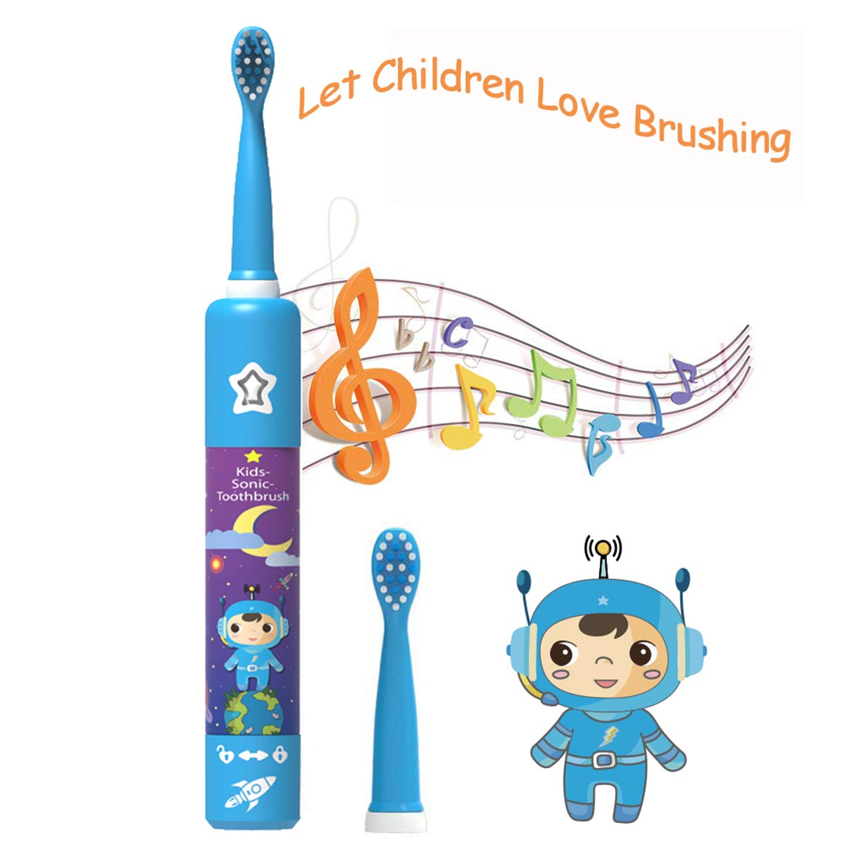 Kids Electric Toothbrush Rechargeable USB Charging Powered Up to 30 Days, Smart Timer 3 Modes Waterproof Travel Sonic Toothbrushes 2 Brush Heads Soft Bristles Deep Clean As Dentist for Child Age 3