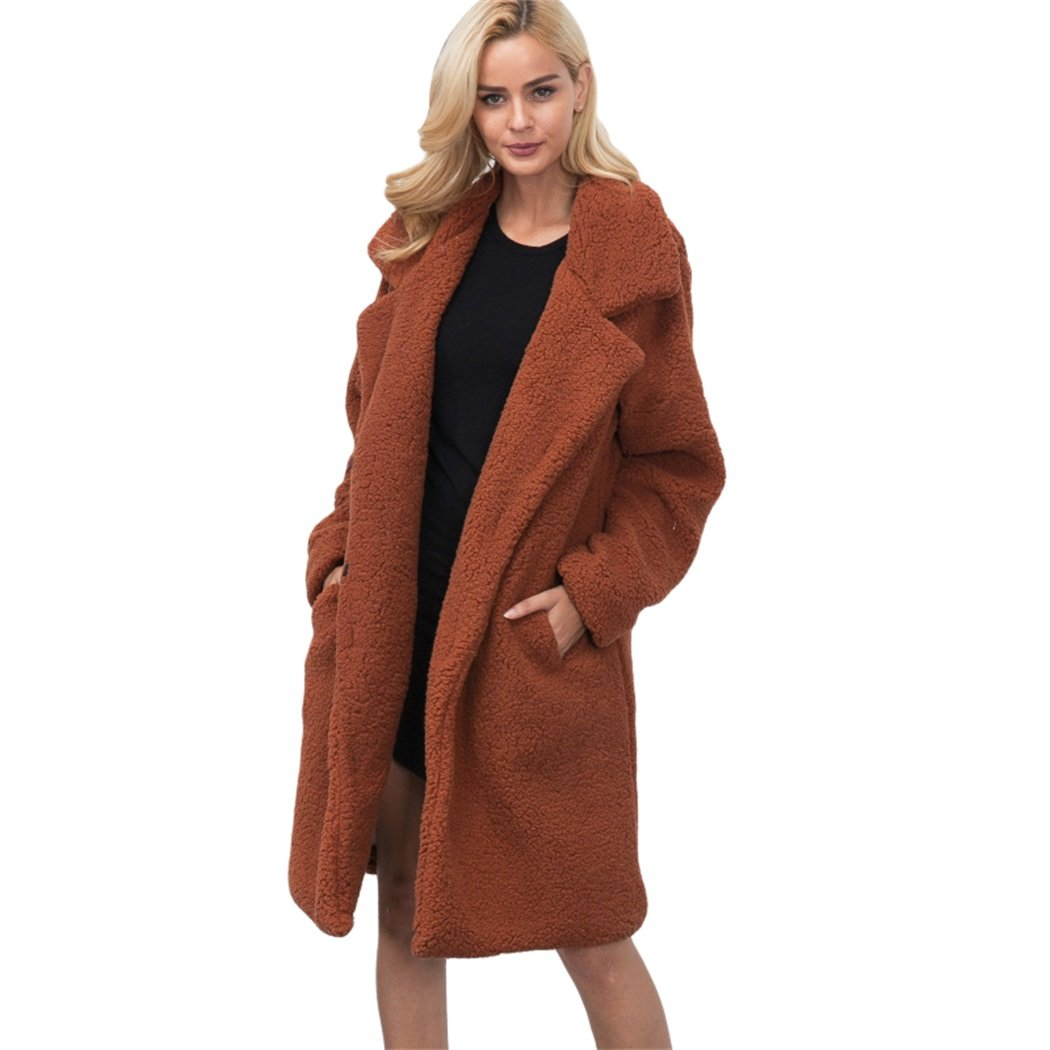 FUNOC Women's Winter Warm Loose Oversized Long Fleece Jacket Coat Outwear Plus Size
