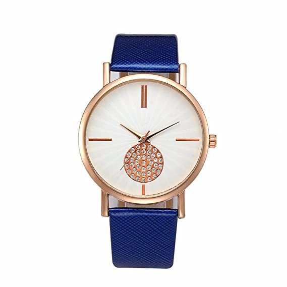 Magiyard Relojes Mujer, Retro Digital dial Banda de Cuero Cuarzo analógico Relojes (Azul)