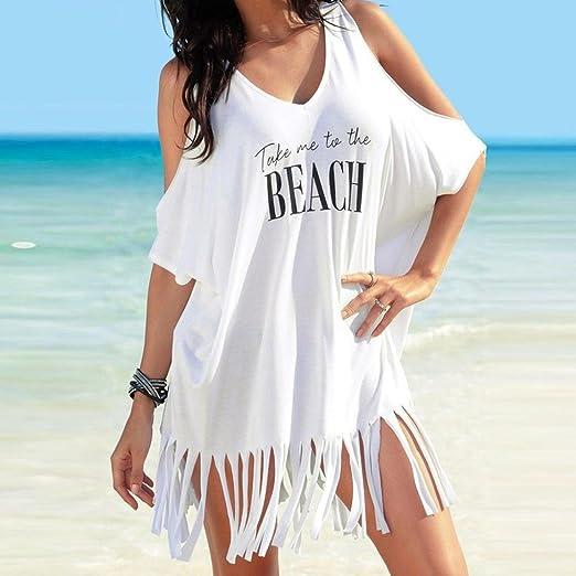 Vestidos Mujer Casual Verano 2018, Sonnena 🌹🌹🌹 Mujeres Borla Letras Imprimir Bikini Traje de baño Cubrir-ups Playa Vestido (S, Blanco): Amazon.es: Ropa y ...