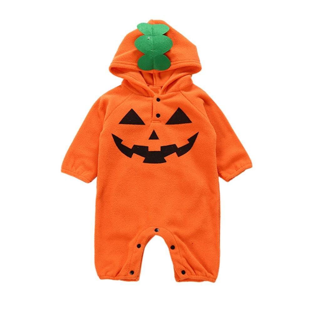 QinMM Kleinkind Infant Baby Mädchen & Jungen mit Kapuze Strampler Overall Halloween Outfits Kleidung Kostüm Outfits Kürbis Ghost Print Kleidung Set Orange für 6 Monate-24 Monate 11222