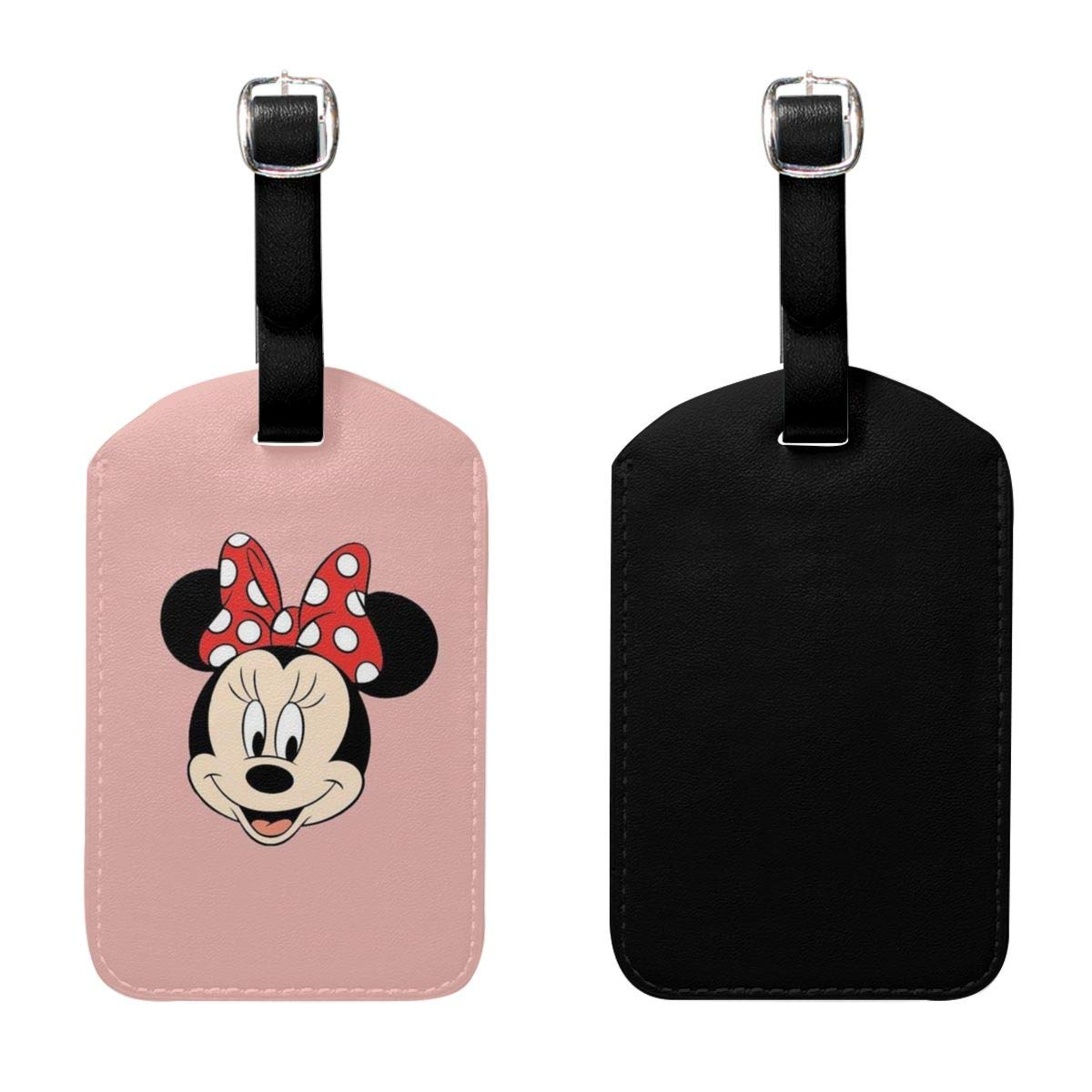 Set of 2 PU Leather Luggage Tags Minnie Mouse Suitcase Labels Bag Adjustable Leather Strap Travel Accessories