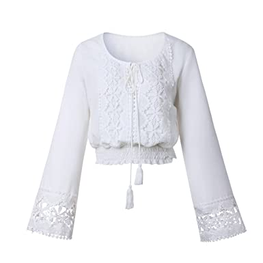 Ivan Johns Summer Lace Blouse Shirt Perspective V Neck Long Sleeve White Chiffon Shirt Women Blusas