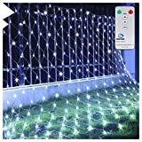 Ollny Led Net Mesh Fairy String Decorative Lights - Christmas Tree-wrap Wedding Garden Home Outdoor Decorations Lights Low Voltage 200 LEDs 8 Modes 2m*3m Cool White Light (Remote & Timer)