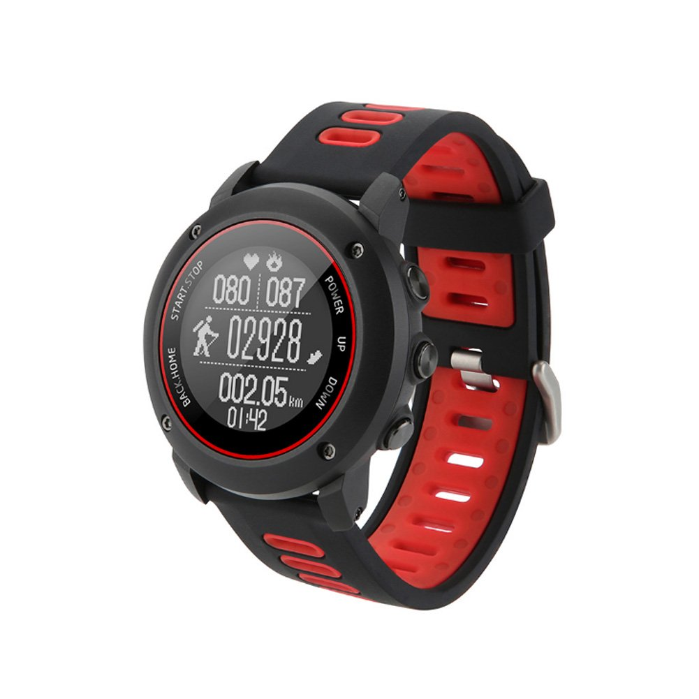 GPS Hiking Bluetooth Smart Watch, Adventurer Outdoor Sports IP68 Waterproof Watch,Multi-function Mode,for Tracking Running,Hiking,Heart Rate Monitor,SOS,Compass,USB Charging,Connect with APP (Red)