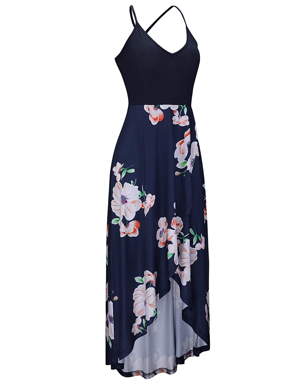 ede1228ed2a8 KILIG Women s V Neck Sleeveless Summer Asymmetrical Patchwork Floral Maxi  Dresses at Amazon Women s Clothing store