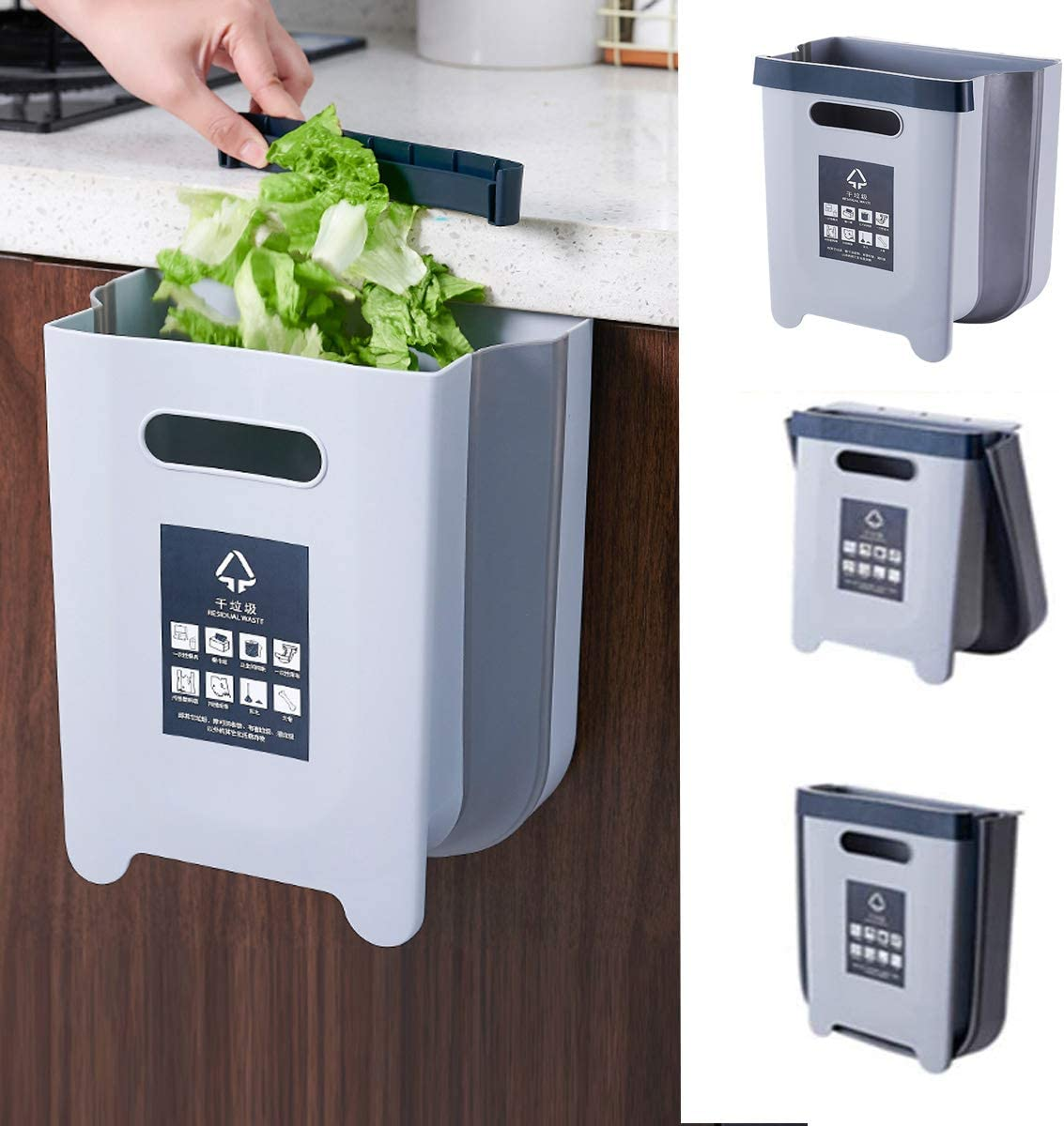 Kitchen Hanging Trash Can, Collapsible Trash Bin Small Compact Garbage Can Attached to Cabinet Door Kitchen Drawer Bedroom Dorm Room Car Waste Bin - 9L/2.3 Gallon (Light Gray)
