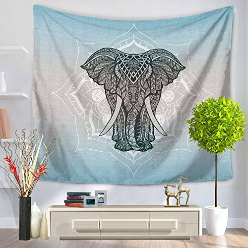 ChezMax Animals Pattern Square Polyester Tapestry Multi Purpose Decorative Wall Hanging Mural Art for Bedroom Elephant Blue 59