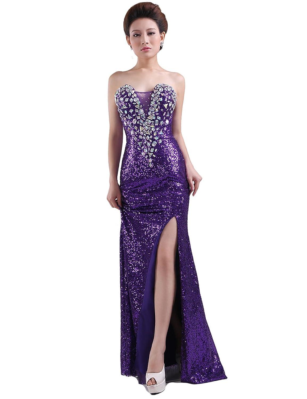 Dressystar Damen Lang Pailletten schlitz Abendkleid Ballkleid mit Strasssteinen
