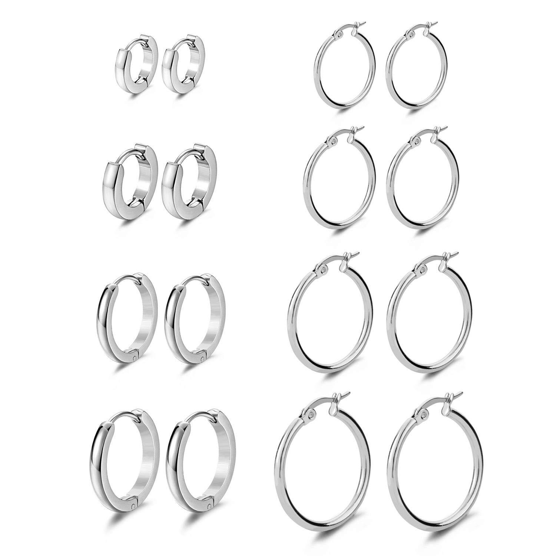 Evevil Stainless Steel Stud Hoop Earrings for Women Men Mixed Set Hoop Huggie Earrings 8 Pairs EV18JE050002-8P