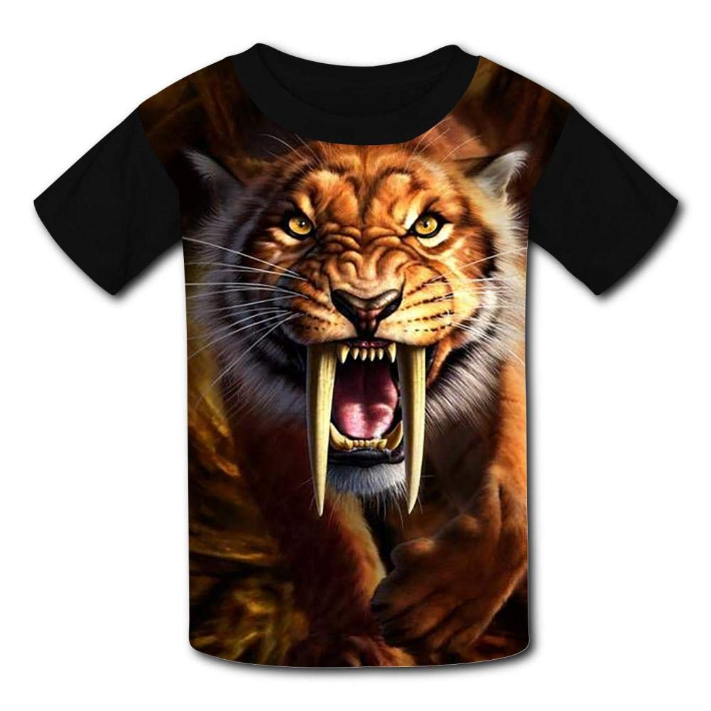 HAHTUUE Youth Roaring Tiger Face 3D Printed T-Shirts O-Neck Short Sleeve Kids Tees