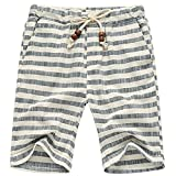 MLDYGYC Men's Summer Casual Plus Size Linen Drawstring Striped Beach Shorts (Waistline : 29-31 inch/Tag XL, Grey)