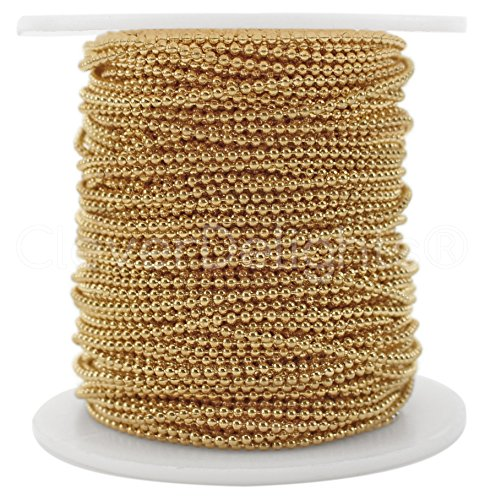 Tiny Metal Ball Chain - CleverDelights Ball Chain Spool - 30 Feet - 1.5mm Ball (Small) - Champagne Gold Color - 10 Meters