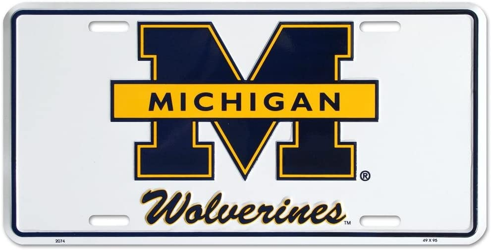 Michigan Wolverines License Plate Tin Sign 6 x 12in