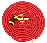 KMM Expandable Water Garden Hose with Heavy Duty Brass Connectors and Best 9 Patterns Spray Nozzle#032( red 100 ft new)