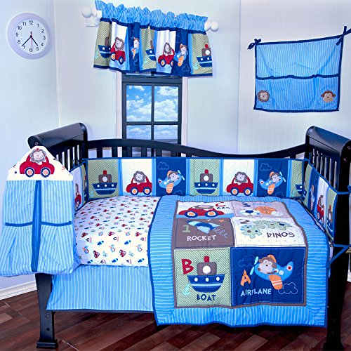 12 Pieces Crib Bedding Nursery set Toys,cars,boats,airplanes,baby boy bumper included soft and - 12 Piece Nursery