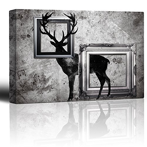 Antique Grayscale Deer with Antlers in Between Frames