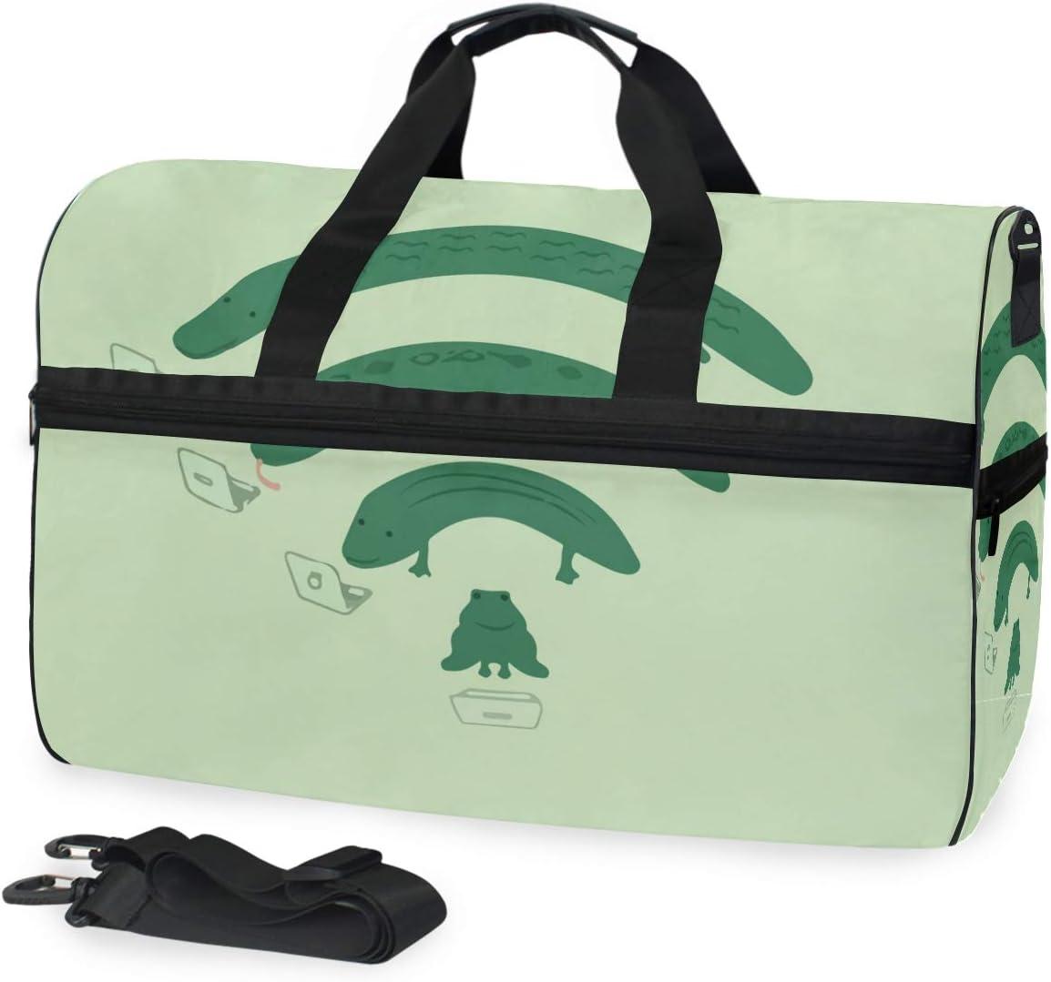 FAJRO Duffle Bag for Women Men Frog Wifi Travel Duffel Bag Large Size Water-proof Tear Resistant