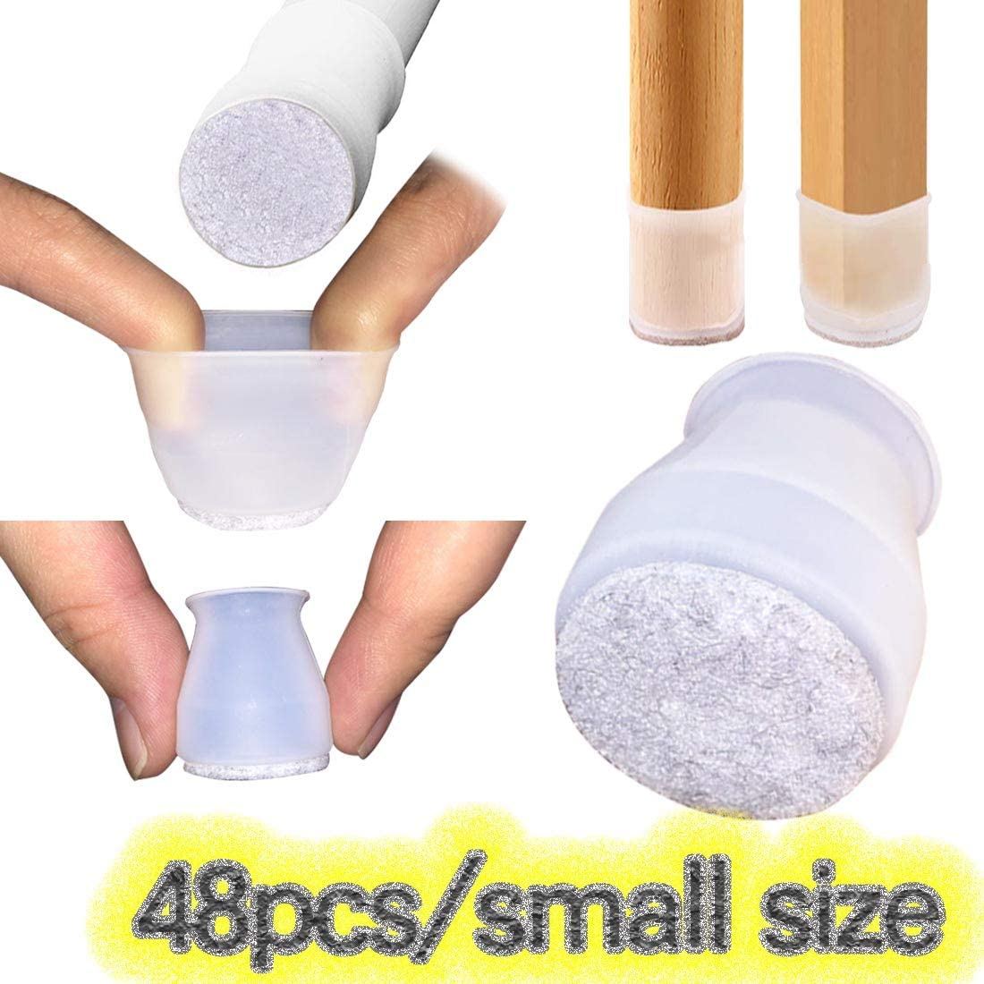 48Pcs[Small Size]Soft Silicone for Round and Square Chair Legs Floor Protectors Caps,Protection Cover with Felt Pads.for Dining Chair/Table Feet.Furniture Cups(48PCS(FIT 20-33mm / 0.78-1.3 inch))