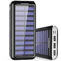 PLOCHY Cargador Portátil 24000mAh Cargador Móvil Portátil Batería Externa, Entrada Doble y 3 Puertos de Salida USB, Cargador Solar Power Bank para Android Phones, Tablet y Otros Smartphones(Blanco)