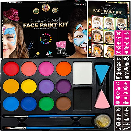 Face Paint Kit for Kids - 14 Professional Face Paints, 40 Jumbo Stencils, 2 Brushes, 2 Sponges, Gold Makeup Loose Glitter - Safe Face and Body Painting Kit for Sensitive Skin, Face Painting Book -