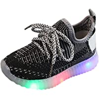 Toddler Kids Luminous Sneakers, Baby Boys Girls Mesh Running Sport Boots Kids Unisex LED Light Up Children Trainers…