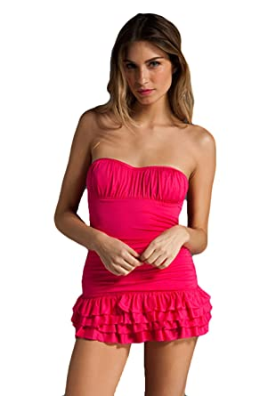 248d59d55f8 Amazon.com: Juicy Couture Miss Softee Ruffle Bandeau Swimdress Small:  Clothing