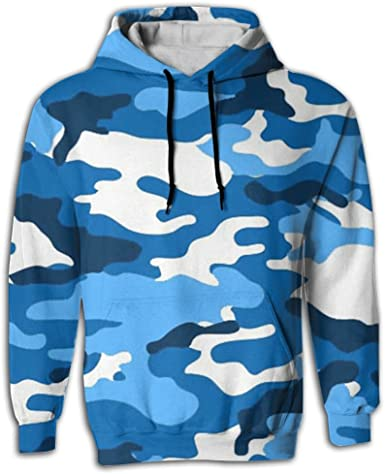 QQMIMIG Unisex Blue Camouflage 3D Printed Pullover Long Sleeve Fleece Hooded Sweatshirts with Pockets