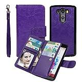 LG G3 Wallet Case, xhorizon TM SR Premium Leather Folio Case Wallet Magnetic Detachable Purse Multiple Card Slots Case Cover for LG G3 -Purple