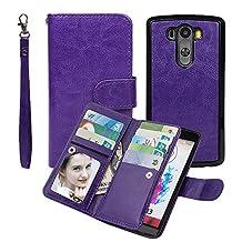 Wallet Case for LG G3, xhorizon TM SR Premium Leather Folio Case Wallet Magnetic Detachable Purse Multiple Card Slots Case Cover for LG G3 -Purple