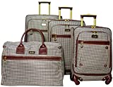 Nicole Miller Taylor Set of 4: Box Bag, 20'', 24'', 28'' Spinner Luggages (Brown Plaid)