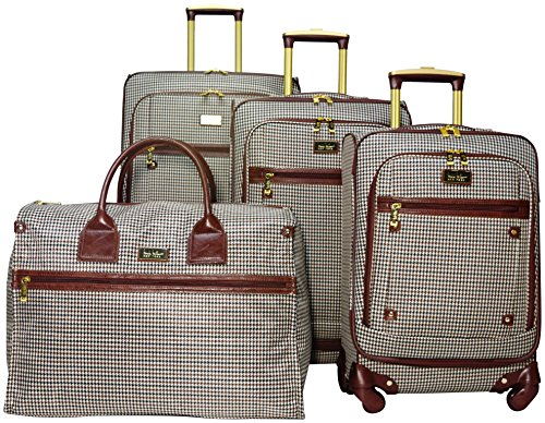 Nicole Miller Taylor Set of 4: Box Bag, 20'', 24'', 28'' Spinner Luggages (Brown Plaid) by Nicole Miller