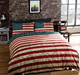 TWIN AMERICAN UNITED STATES FLAG REVERSIBLE COTTON BLEND BLUE COMFORTER DUVET COVER