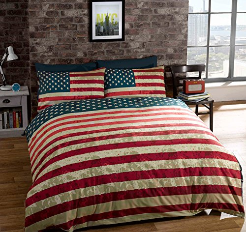QUEEN SIZE (230 X 220CM - UK KING SIZE) AMERICAN UNITED STATES FLAG REVERSIBLE COTTON BLEND BLUE COMFORTER DUVET COVER