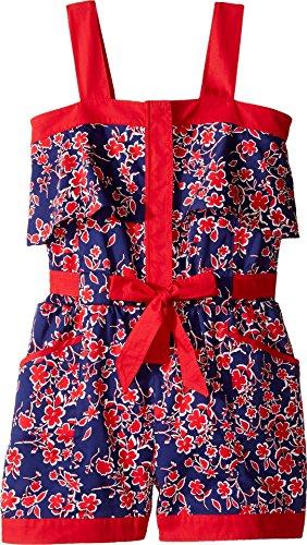 Oscar de la Renta Childrenswear Baby Girl's Graphic Floral Cotton Romper (Toddler/Little Kids/Big Kids) Navy/Cherry Youth 12 Big by Oscar de la Renta