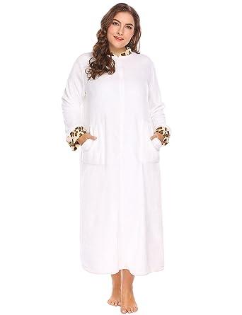dcc96cffe4 Women s Plus Size Soft Warm Stand Collar Leopard Trim Half Zip-Front  Bathrobe Plush Fleece