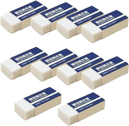 10 gomme da cancellare, gomma morbida, per studenti, cancelleria, scuola, ufficio, correttore – bianco