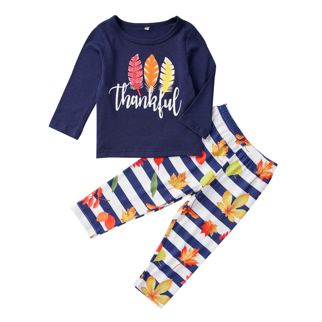 Kids Toddler Christmas Thanksgiving Outfit Clothes, Kunst Girls Boys Feather lange Sleeve T-Shirt Tops Stripe Pants (Blue, 12-18 Months)