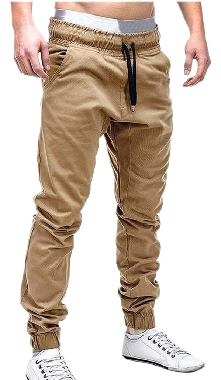 ZXFHZS Mens Active Fitness Casual Fall Winter Mid Rise Straps Fit Bottom Pants