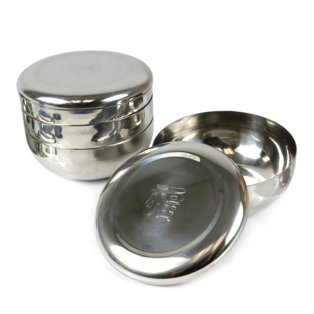 4 Sets Korean Traditional Style Stainless Steel Rice Bowl with Lid (Chinese 'Fortune' Embossed)