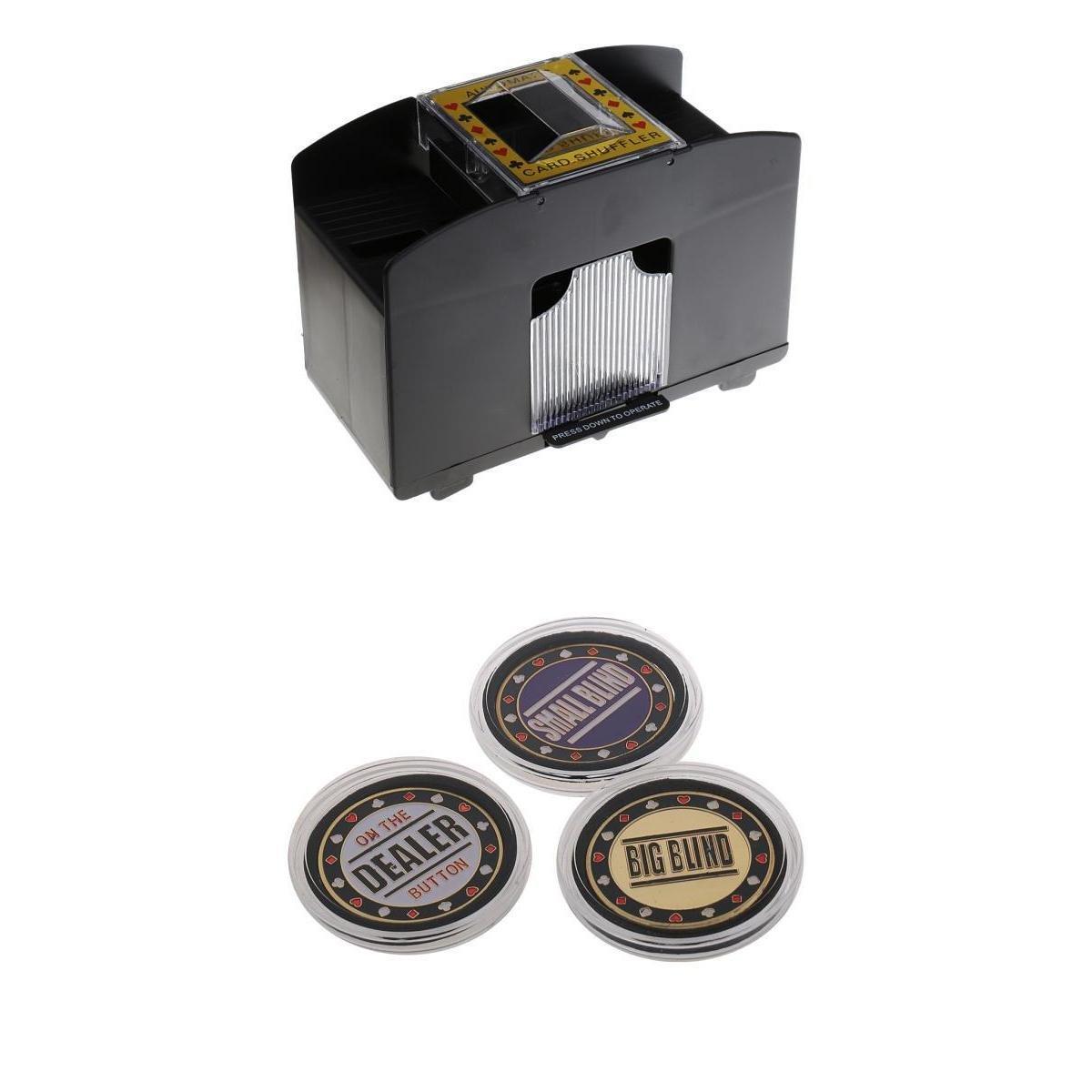 MagiDeal 1-4 Decks Elektrische Kartenmischmaschine, Automatisches Kartenmischgerät +3er-Set Hochwertig Poker Button, Dealer/ Big Blind / Small Blind