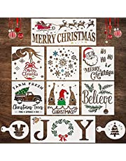 Christmas Stencils for Painting on Wood, Canvas, Fabric, Window - Reusable Templates with Merry Christmas, Believe, Snowflake and a Joy Stencil - Large Holiday Stencils for Wood Signs and DIY Crafts