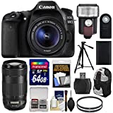 Canon EOS 80D Wi-Fi Digital SLR Camera & 18-55mm IS STM with 70-300mm IS USM Lens + 64GB Card + Battery + Backpack + Tripod + Flash & LED Light Kit
