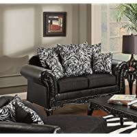 Chelsea Home Furniture Lolita Loveseat, Bi-Cast Ebony/Jericho/Total Package