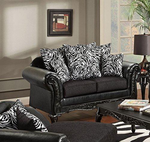 Chelsea Home Furniture Lolita Loveseat, Bi-Cast Ebony/Jericho/Total Package
