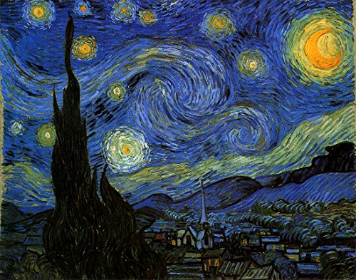 Starry Night by Vincent Van Gogh.100% Hand Painted.Oil On Canvas.Museum Quality Reproduction.Free Shipping (Unframed and Unstretched). 36x29 IN.