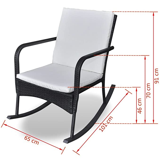 Vidaxl Rocking Chair Fauteuil à Bascule En Poly Rotin Noir Amazon