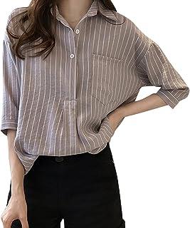 Rovinci Chemisier Top T Shirt Femme Rayure Revers Oversize Manche de Sept Quarts Mode Casual