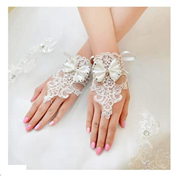 a8b0828986c Miya 1paare glamour elegante Braut handschuhe Hand Schmuck Prinzessin  Handschuhe aus Spitzen Satin und Lace